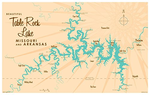 Table Rock Lake Missouri Vintage-Style Map Art Print Poster by Lakebound (12