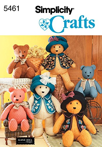 Simplicity 5461 Sewing Pattern - Classic 18 and 22 Inch Stuffed Bears with Clothes
