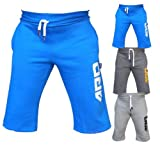 4Fit Mens Cotton Fleece Shorts Jogging Casual Home Wear MMA Boxing Martial Art Jogger (Blue, XL) offers
