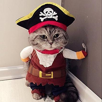 Idepet Pirata del Caribe Disfraz de Gato Funny Dog Ropa para Mascotas Traje Corsair Viste a la Fiesta Ropa de Fiesta para Perros Gato Plus Sombrero (L)
