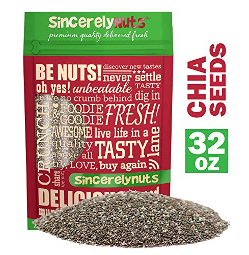Sincerely Nuts Black Chia Seeds (2lb bag) - Natural Superfood | Raw, Gluten Free, Vegan & Kosher | Healthy Snack Food & Smoothie Thickener | Amazing Source of Protein, Omega 3, Fiber, Vitamins