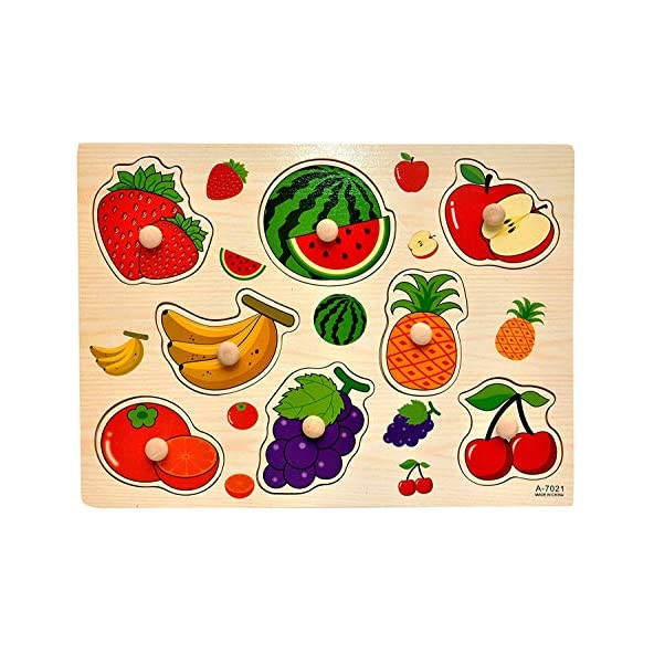 Baybee Premium Wooden Puzzles -Upper,CaseSmall Alphabet Letters,0 to 20 Puzzle, Geometric Shape Sorter,Wooden Magnetic Writing Board,Classroom Puzzle,Tangram Puzzle (Fruits-A)
