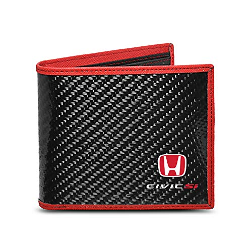 Honda Civic Si Real Premium Black Carbon Fiber Wallet with Red Stitched Edge Bi-fold Wallet (Honda Civic Si Mugen Rr For Sale)
