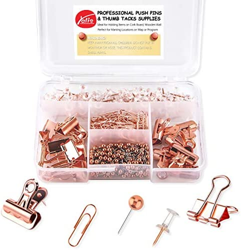 Push Pins Binder Clips Paper Clips Map Tacks Sets, 5 Styles 396 Pcs Rose Gold Pack for Office, School and Home Supplies (Pin and Clips)