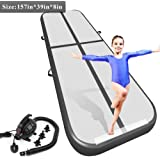 9.84ft/13.13ft/16.4ft/19.69ft/23ft/26ft/29ft/33ft/36.ft/39ft Air Track Tumbling Mat for Gymnastics Inflatable Airtrack Floor Mats with Electric Air Pump for Home Use Cheer Training Cheerleading