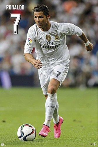 Cristiano Ronaldo Poster - Cristiano Ronaldo Real Madrid Action Soccer Sport Poster Print 24 By 36