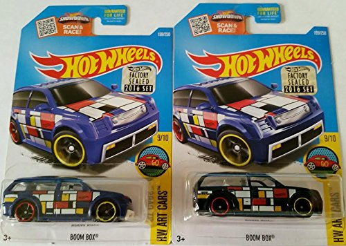 2016 Hot Wheels Regular Mainline & Super Treasure Hunt Hw Art Cars 9/10 - Boom Box - Include Factory Sealed Set Sticker (Cars Stickers Wheels Hot)
