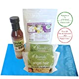 Low Carb Ketogenic Healthy Snacks | Stevia Sweet BBQ Sauce + Gluten Free Miracle Noodles Angel Hair + LC Foods Confectionery Powdered Sweetener (Erythritol) Bundle | Keto Friendly Shirataki Noodle