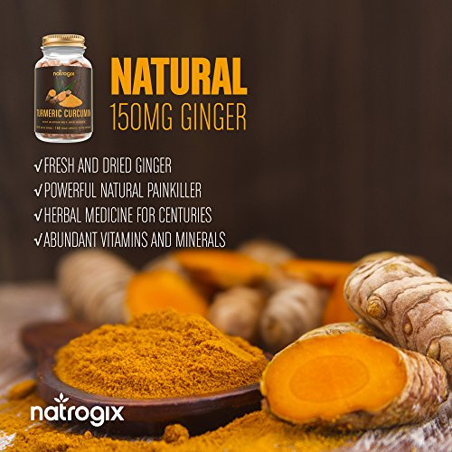 Turmeric Curcumin Supplement by Natrogix - Max Strength 2415mg Formula/Per Serving - Anti-Inflammatory and Antioxidant with Ginger & BioPerine Enhanced Absorption (180 VCapsules*3 bottles)