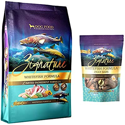Zignature Whitefish Dog Food 4 Pound Bag & Whitefish (New) Ziggy Dog Treat Bars 12 Ounce Bag