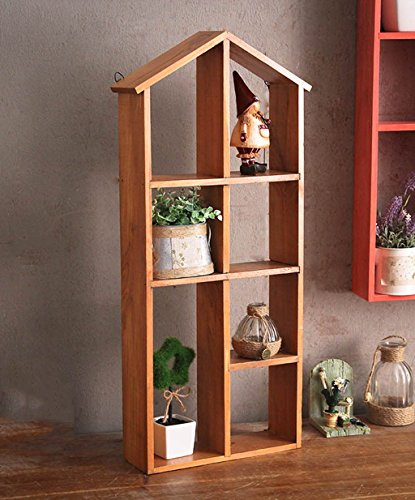 - ZENGAI Wall Hanging Flower Rack Solid Wood Storage Wall Decoration Pendant Shelf Shop Display Stand Retro Bonsai Frame 4 Colors Optional 31 67cm Plant Container