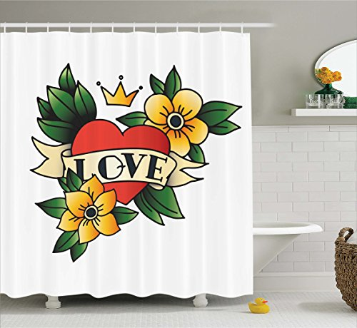 Ambesonne Tattoo Decor Shower Curtain by, Pencil Drawn Style Pastel Colored Crown Heart with Leaves and Flower, Fabric Bathroom Decor Set with Hooks, 70 Inches, Yellow Green and Red