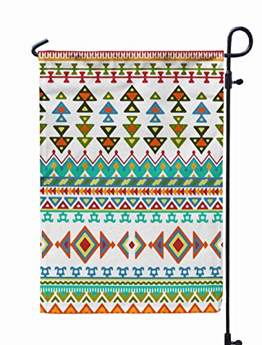 Shorping Open Garden Flag, 12x18Inch Drawn Stripes Pattern with Ethnic and Tribal Ornament Bright Boho Fashion for Holiday and Seasonal Double-Sided Printing Yards Flags