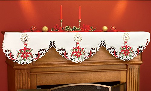 Christmas Poinsettia Candles Mantel Square