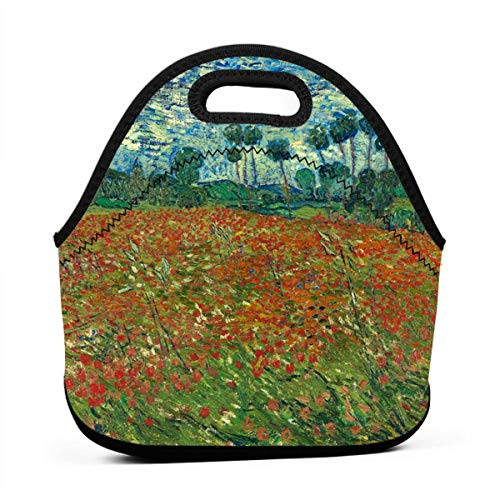 DJUQBWKP Poppy Field by Van Gogh Portable Lunch Bags,Reusable Picnic Bag -for Adults, Women, Girls, School Children - Suitable for Travel, Picnic, Office (Small)