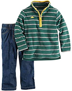 Carters Infant Boys Green Stripe Fleece Dinosaur Jacket & Pants 2 PC Outfit