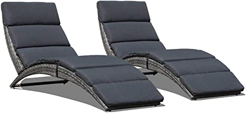 JOIVI Patio Chaise Lounge Chair, Outdoor Sun Lounger, PE Rattan Foldable Chaise with Removable Gray Cushion, Suitable for Poolside, Garden, Balcony 2 Pack