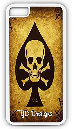 iPhone 7 Plus 7+ Case Spade Skull Cross Bones Cards Poker Customizable TYD Designs in White Plastic ()