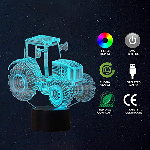 Bedoo LED Tractor Night 3D Illusion Bedside Table Lamp Sleeping Lighting with Smart Touch Button Cute Gift Warming Present Creative Decoration Ideal Art and Crafts, 7 Colours Changing
