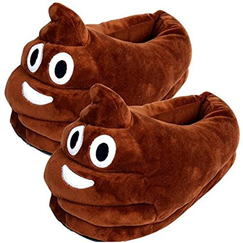 Thicken Warm Winter Slippers Emoji Slippers Unisex Cozy Funny Slippers Fluffy House Shoes (Poop) -