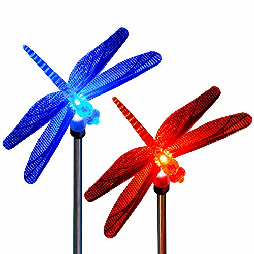 Dragonfly Decor Solar Color Changing Outdoor Holiday Decoration Garden Stake Lights for Christmas Thanksgiving Outdoor Patio Lawn Yard Decorative Fixture (2 Pack) ()