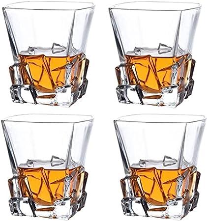 XIAOWANG Vaso de Vidrio de Whisky 4 unids Whisky Scotch Scotch Glass, 100% Plomo libreware Lavabo para lavavajillas Safe Safe For Bourbon Alcohol Cocktail en Las Rocas,8pcs