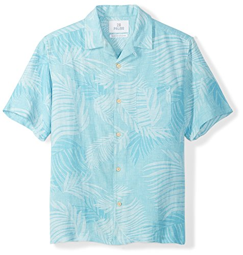 Blue Silk Linen - 28 Palms Men's Relaxed-Fit Silk/Linen Tropical Leaves Jacquard Shirt, Blue Topaz, Large