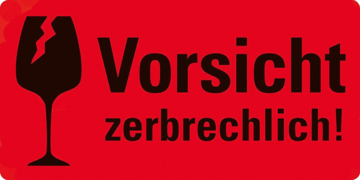 Avery Zweckform Warnetiketten 7211 Vorsicht Zerbrechlich Neon Rot 100 X 50 Mm 200 Etiketten Auf Rolle Im Kartonspender