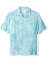 Amazon Brand - 28 Palms Men's Relaxed-Fit Silk/Linen Tropical Leaves Jacquard Shirt