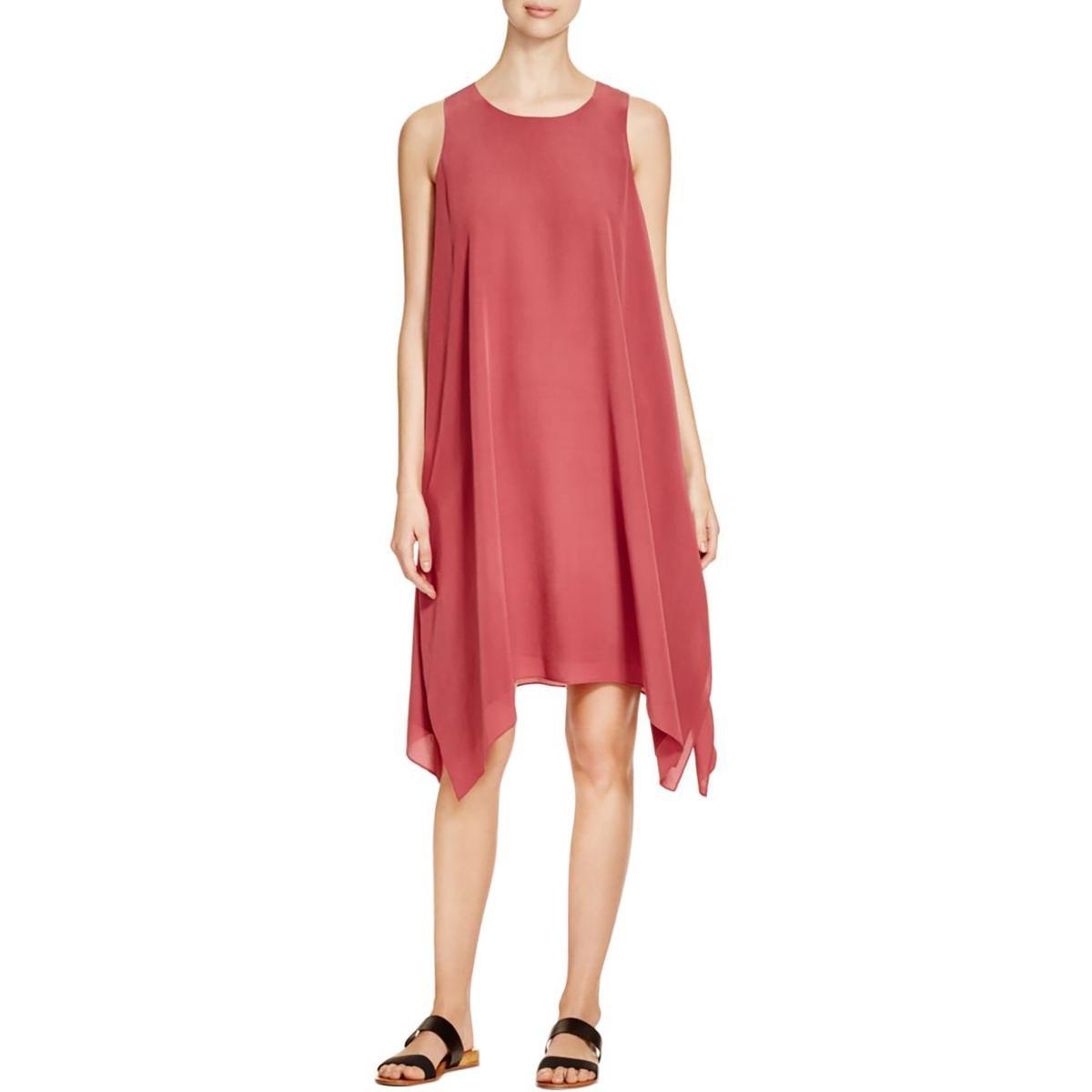 Eileen Fisher Womens Silk Handkerchief Hem Casual Dress Pink S