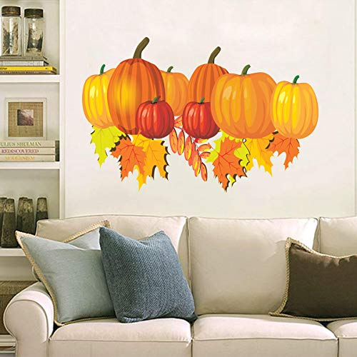 Check it out Halloween autumn pimpkin leaf broken black pieces Decal Movie WALL STICKER Home Decor Art Sticker Room Decor ()
