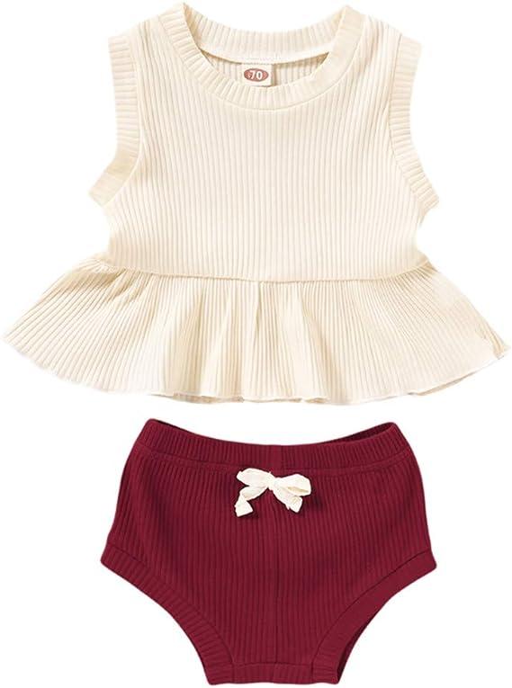 Infant Baby Girls Boys Ribbed Outfit Sleeveless Ruffle Tops Tshirt+Drawstring Shorts Summer Clothing Sets