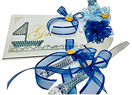 Amazon Com Nautical Sailor Theme Blue Baby Shower Guest Book