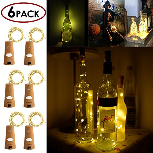 STYDDI Wine Bottle Cork Light, 6 Pack 30inch/75cm 15 LED Siliver Wire lights for bottle DIY, Wedding, Christmas, Halloween, Party Decoration or Mood Lights(Warm White)