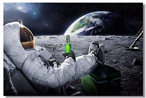 1x Poster Astronaut on the Moon Earth Planet A Men Drink Beer USA Flag Office Home Room Wall Deco 26x17