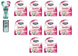 Schick Quattro for Woman GO Razor Handle + Schick Quattro for Women Razor Refill Blade Cartridges, Ultra Smooth, 4 Ct. (Pack of 10) with FREE Loving Color trial size conditioner