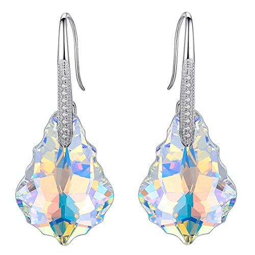 - EleQueen 925 Sterling Silver CZ Baroque Hook Drop Earrings Iridescent Aurora Borealis AB Made with Swarovski Crystals