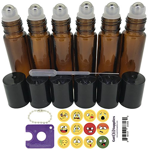 Got Oil Supplies 10ml Roller Bottles For Essential Oils - Includes 12 Free Emoji Lid Stickers, Rollerball Insert Tool & Pipette - 6 or 12 Packs In Multiple Colors (6 Pack, Amber)