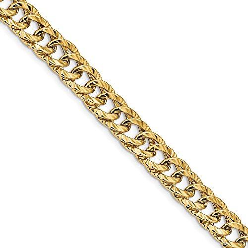 14K Yellow Gold Polished Fancy Link Bracelet 3D 11 mm 7.5 in 11 mm 7.5 in Fancy Bracelets Jewelry (Gold Polished Fancy Link)
