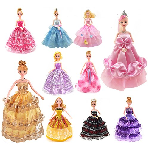 Fengirl 10 Pack Barbie Doll Clothes Handmade Wedding Party Gown Dresses Outfits Gift