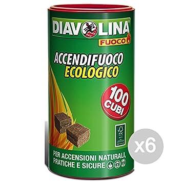 Juego 6 DIAVOLINA accendifuoco X 100 jarrón ecológica para barbacoa y chimenea