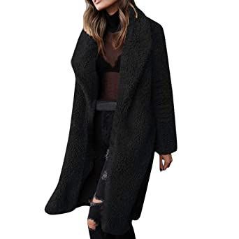 Lang Outwear Coat Faux Frauen Mantel Fleece Warm Teddy Lose Jacke Langarm Cardigan Elegant Revers Mode Wolle Einfarbig Damen Offene Winterjacke Für 1KulFJ35Tc