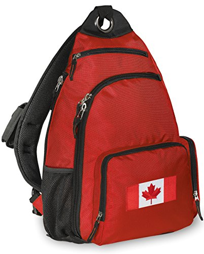 Canadian Flag Backpack Canada One Strap Backpacks for Travel or School Bags (Backpack Flag Canada Women compare prices)