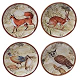 Certified International 25711SET/4 Rustic Nature Canape Plates (Set of 4), 6-Inch, Multicolor