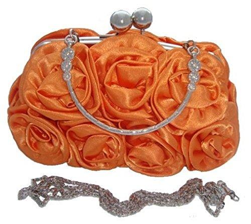 Rose 12 Evening ROYAL BLUE Silk Satin Handbag Wedding prom Colours Flower ORANGE Clutch Party pqS5wz
