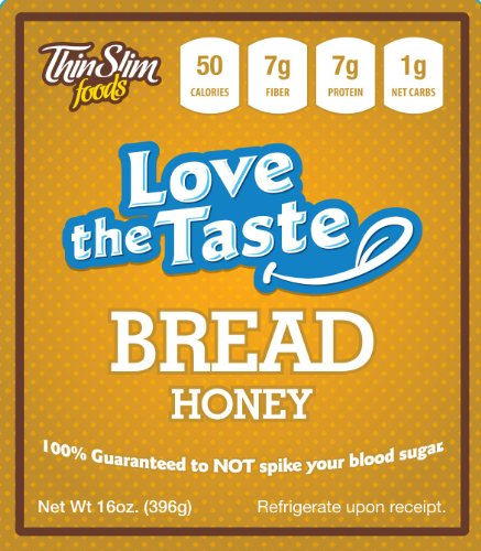 ThinSlim Foods Love-The-Taste 50 Calorie, 1g Net Carb Low Carb Bread, 2pack (Honey) - Atkins Diet Bread