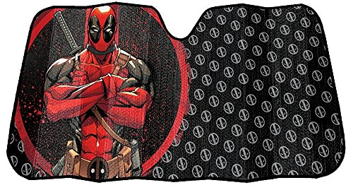 Infinity Stock Marvel Deadpool Front Auto Windshield Sun Shade Universal Size Fit 58″ x 27″ – Windshield Car Truck SUV & Van Sunshade – Interior Accessories (Deadpool Repeater)