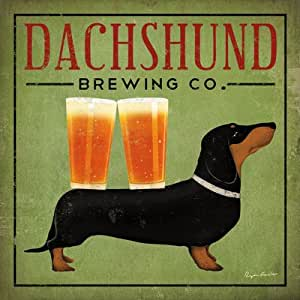 Dachshund Brewing Co by Ryan Fowler Sign Dog Beer Animals Print Poster 12x12
