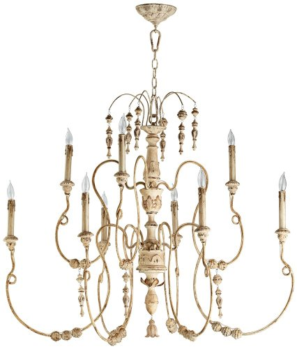 Quorum International 6206-9-70 Chandeliers with Shades, Persian White, 32 x 40.5 x 32