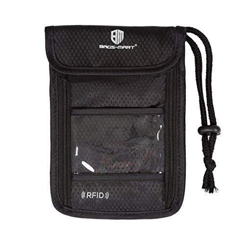 BAGSMART Hidden Travel Neck Wallet - Passport Holder RFID Safety - Neck Stash Belt Pouch Black